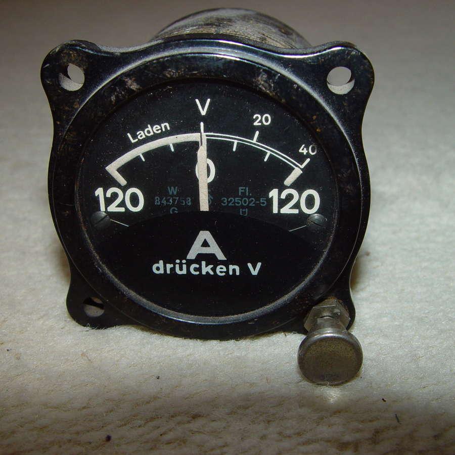 German Luftwaffe electrical charging instrument 120A