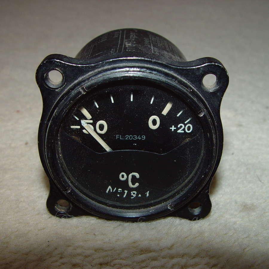 German Luftwaffe external temperature instrument -50/+20