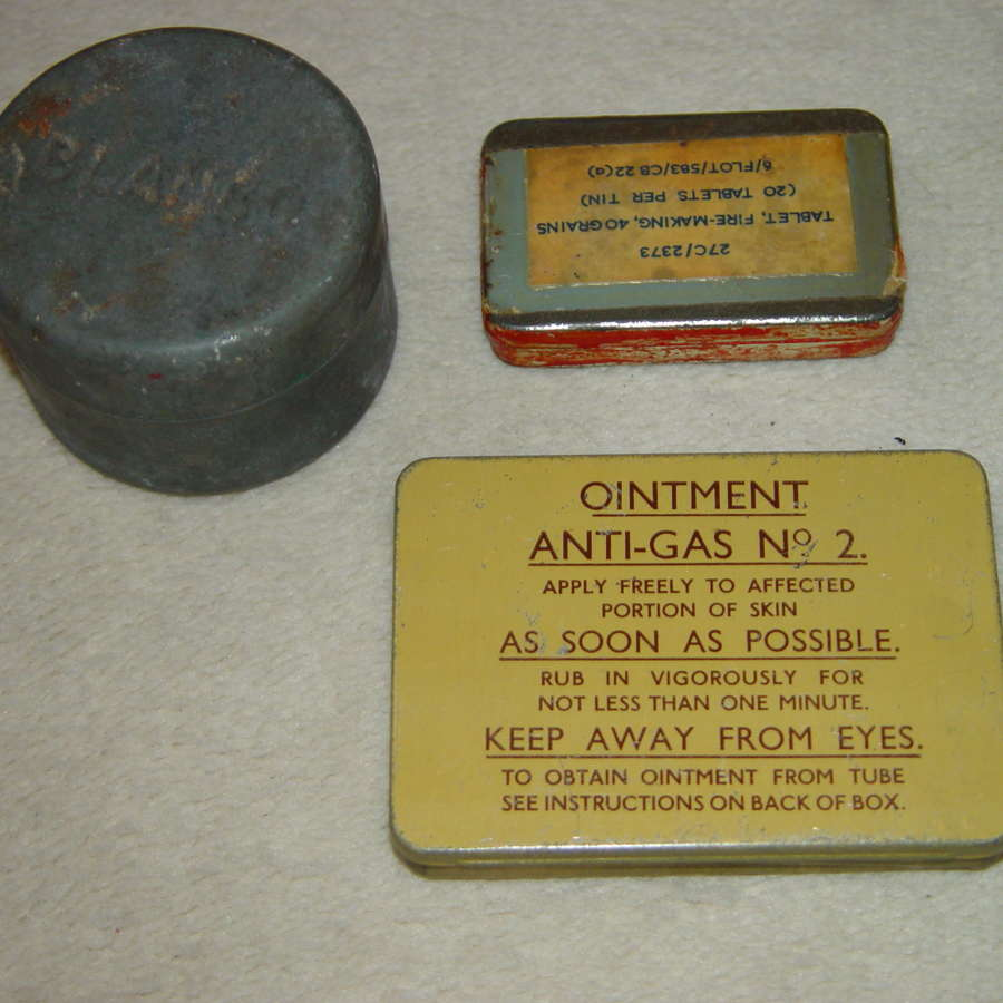 Set of three British Army tins - with content