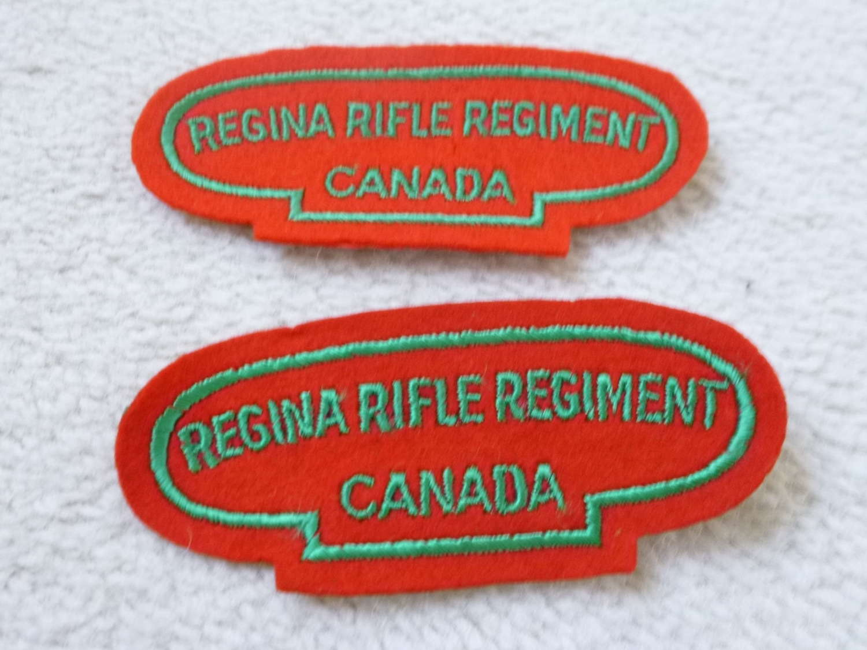 Canadian regina rifle regiment shoulder titles