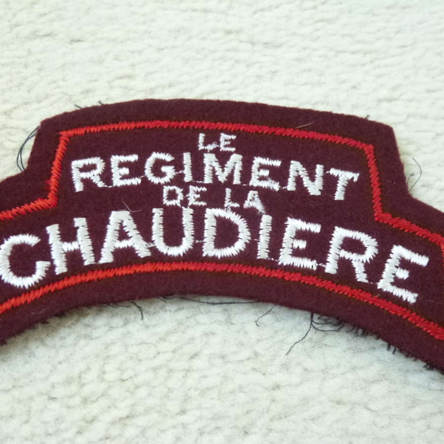 Single Canadian Regiment de la Chaudiere shoulder title