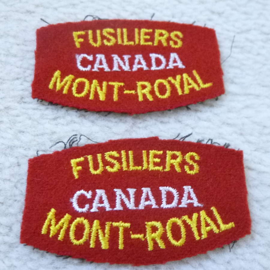 Canadian Fuseliers Mont Royal shoulder titles