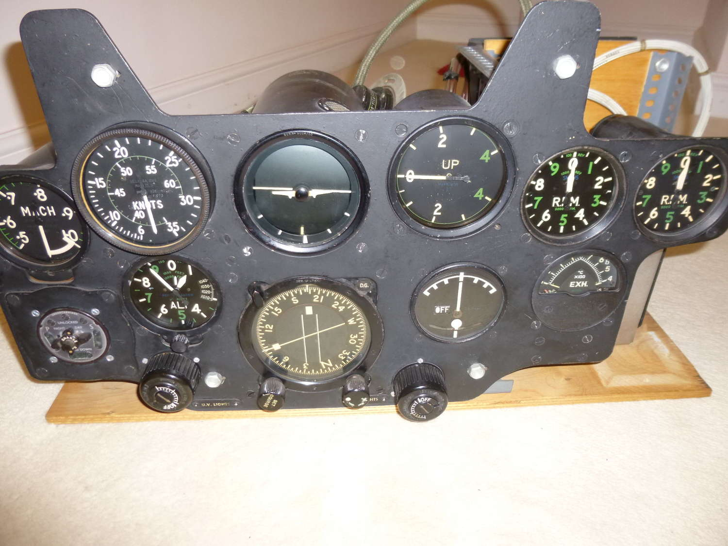 RAF Gloster Meteor main instrument panel