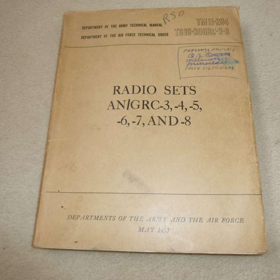 US Army TM11-284 Manual AN/GRC-3-4-5 Manual