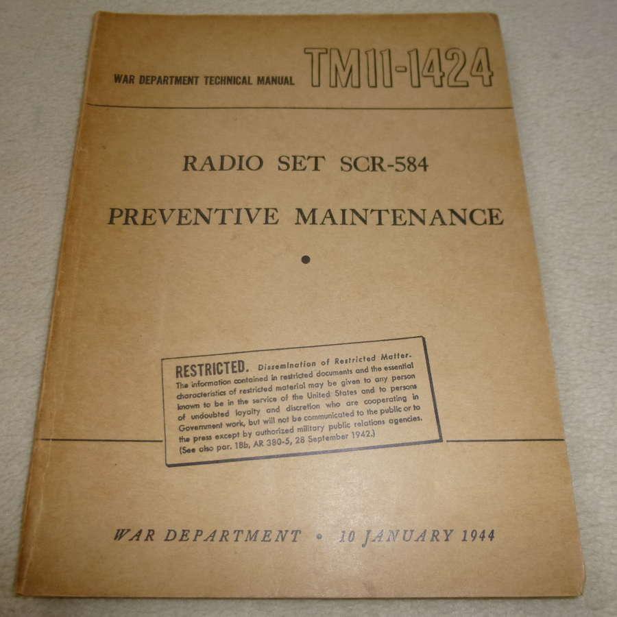 US Army TM11-1424 SCR-584 Radar Maintenance Manual
