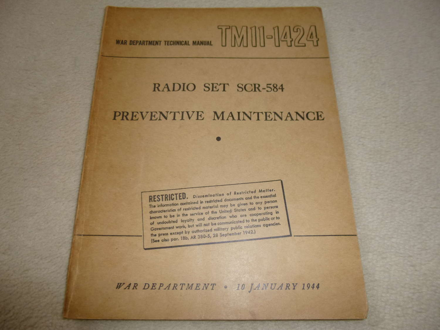 US Army TM11-1424 SCR-584 Radar Maintenance Manual
