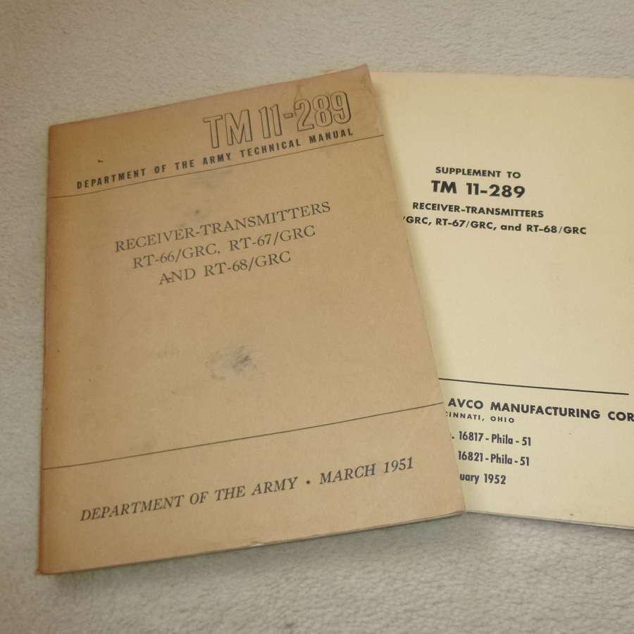 US Army TM11-289 RT-66-67-68/GRC manual