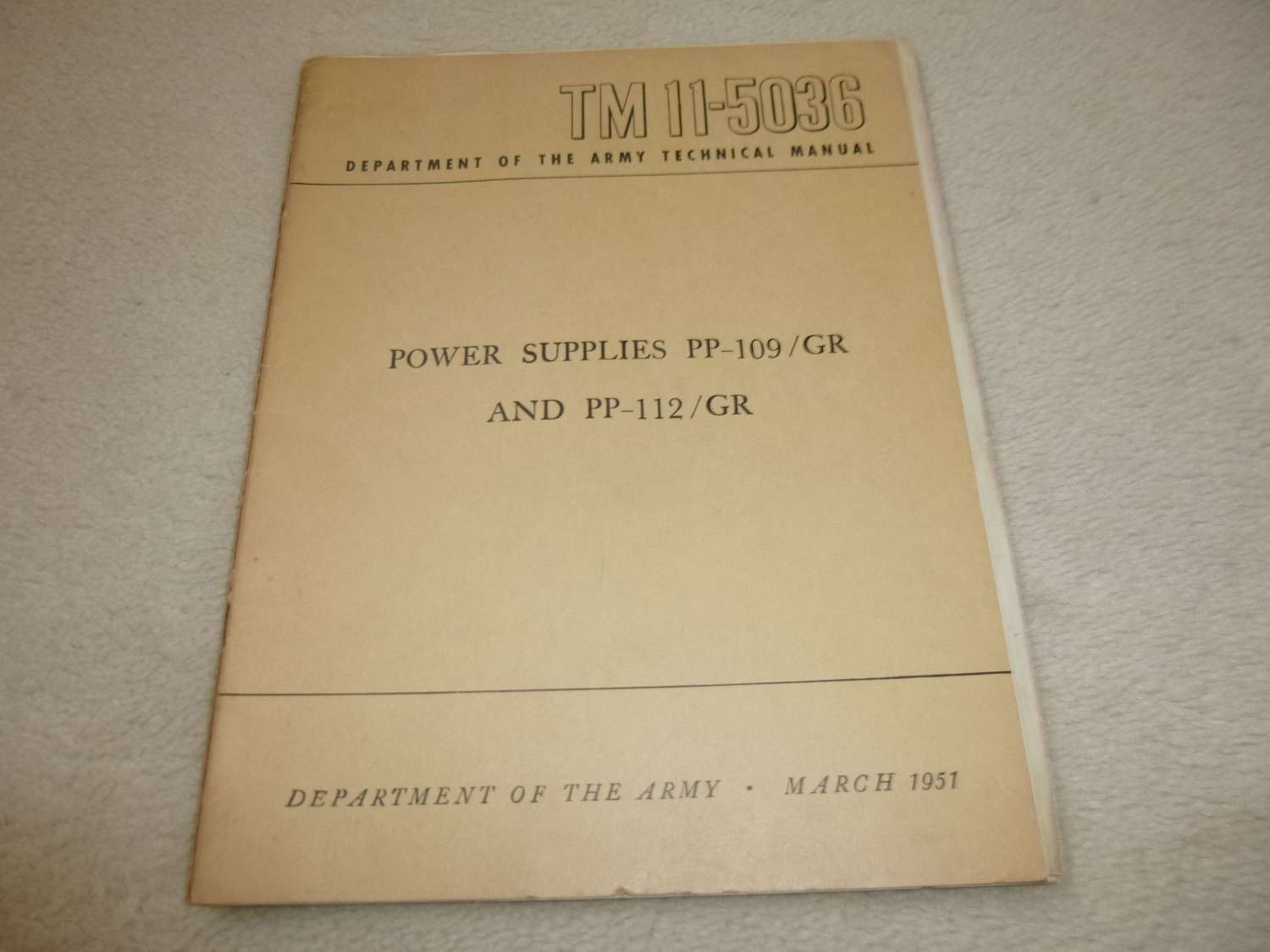 US Army TM11-5036 PP-109-112/GR power supply manual