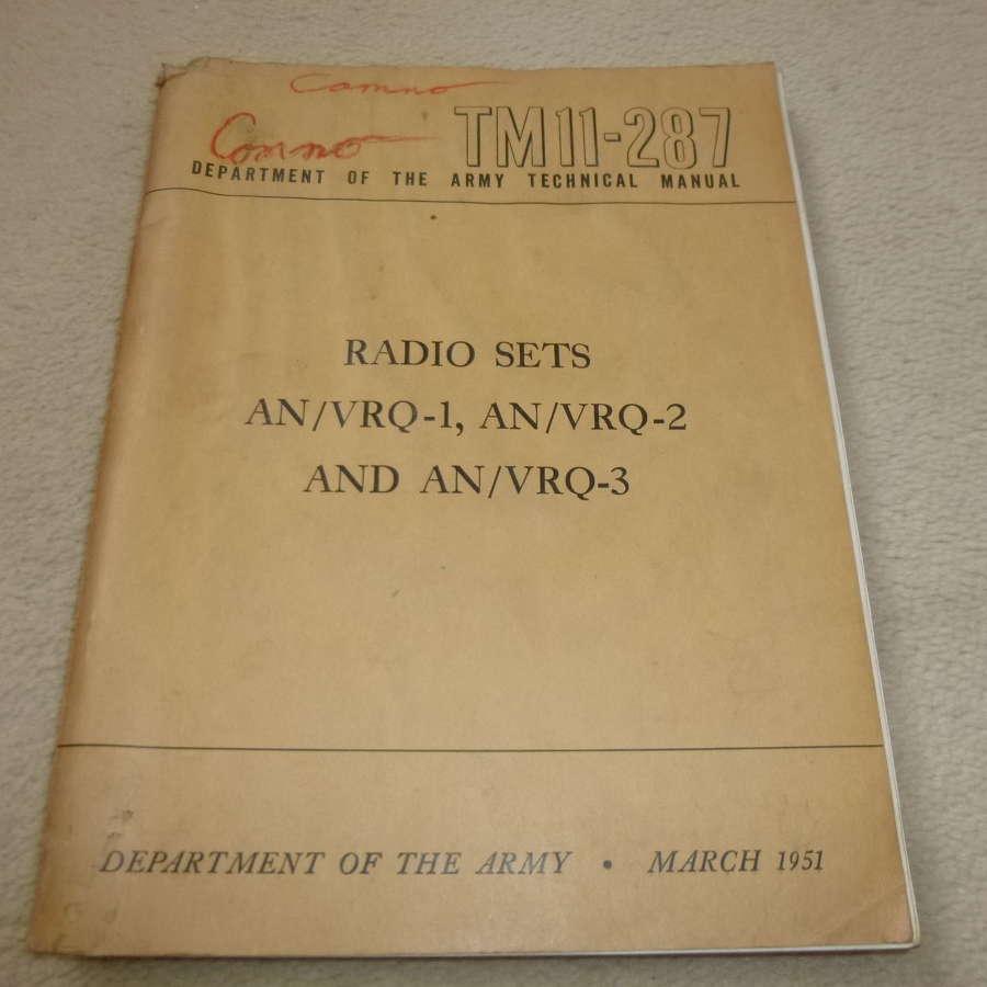 US Army TM11-287 AN/VRQ-1-2-3 Manual