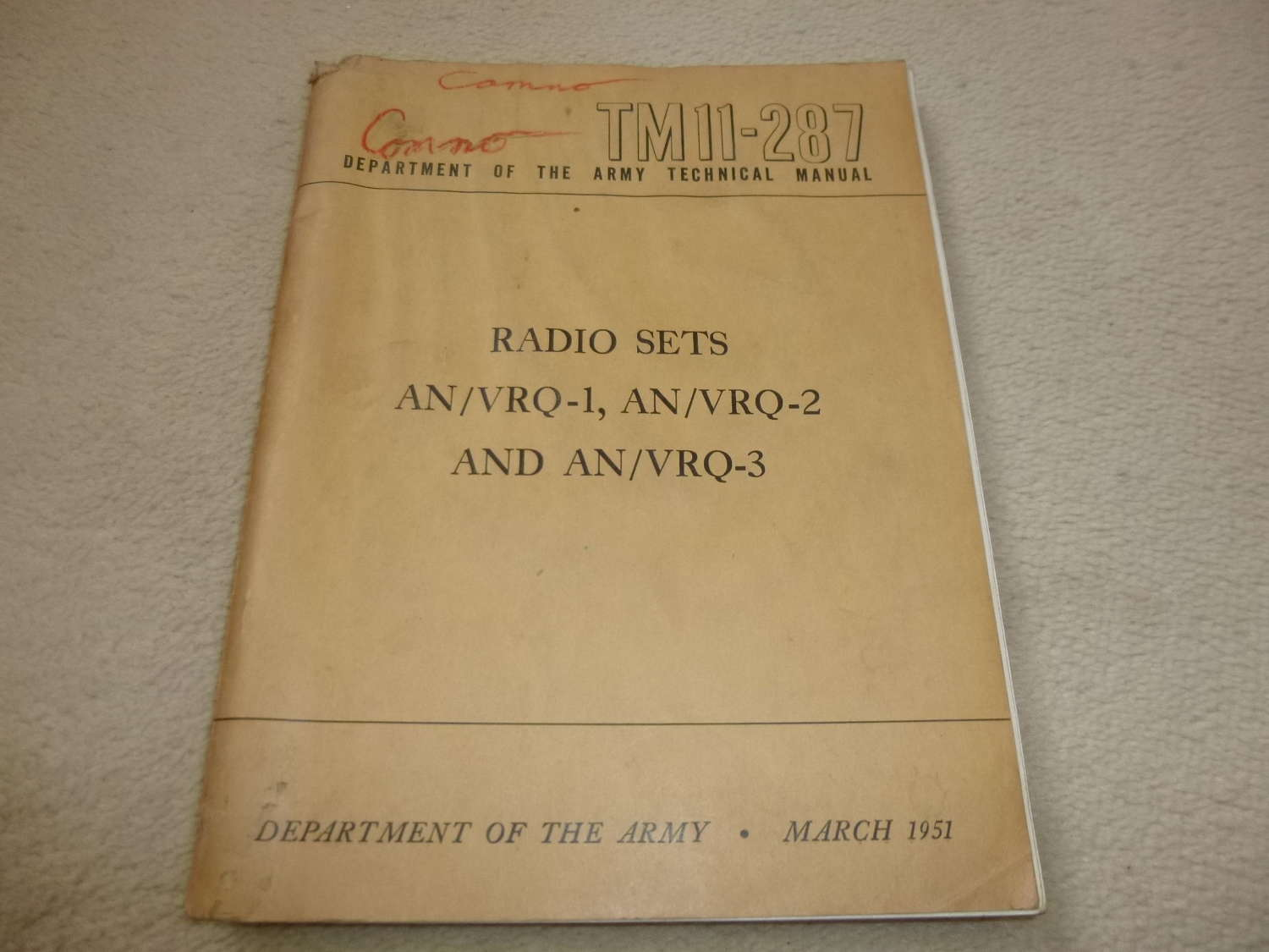 US Army TM11-287 AN/VRQ-1-2-3 Manual