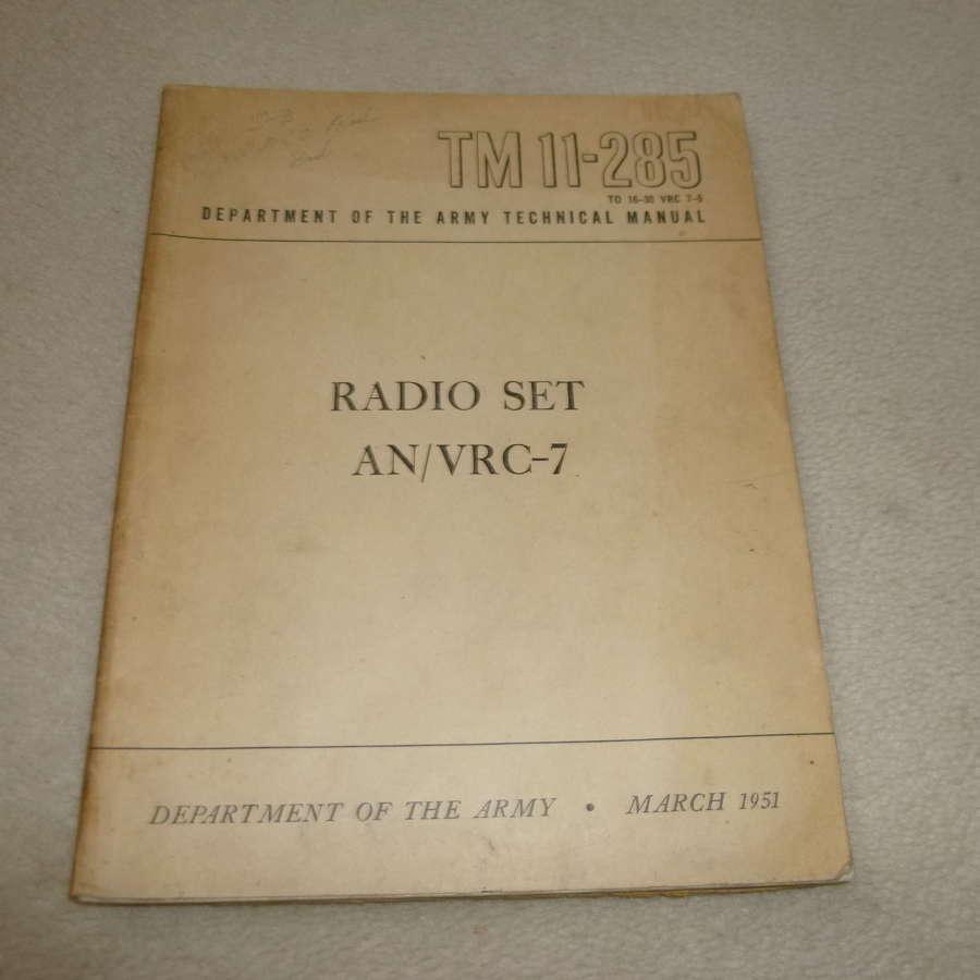 US Army TM11-285 AN/VRC-7 Manual