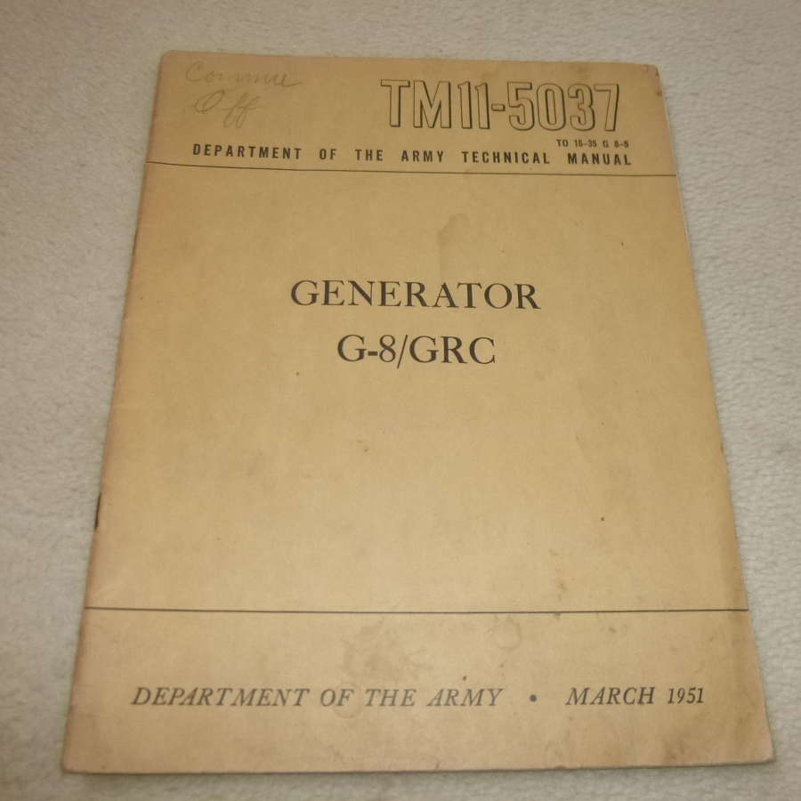US Army TM11-5037 Generator G8/GRC manual