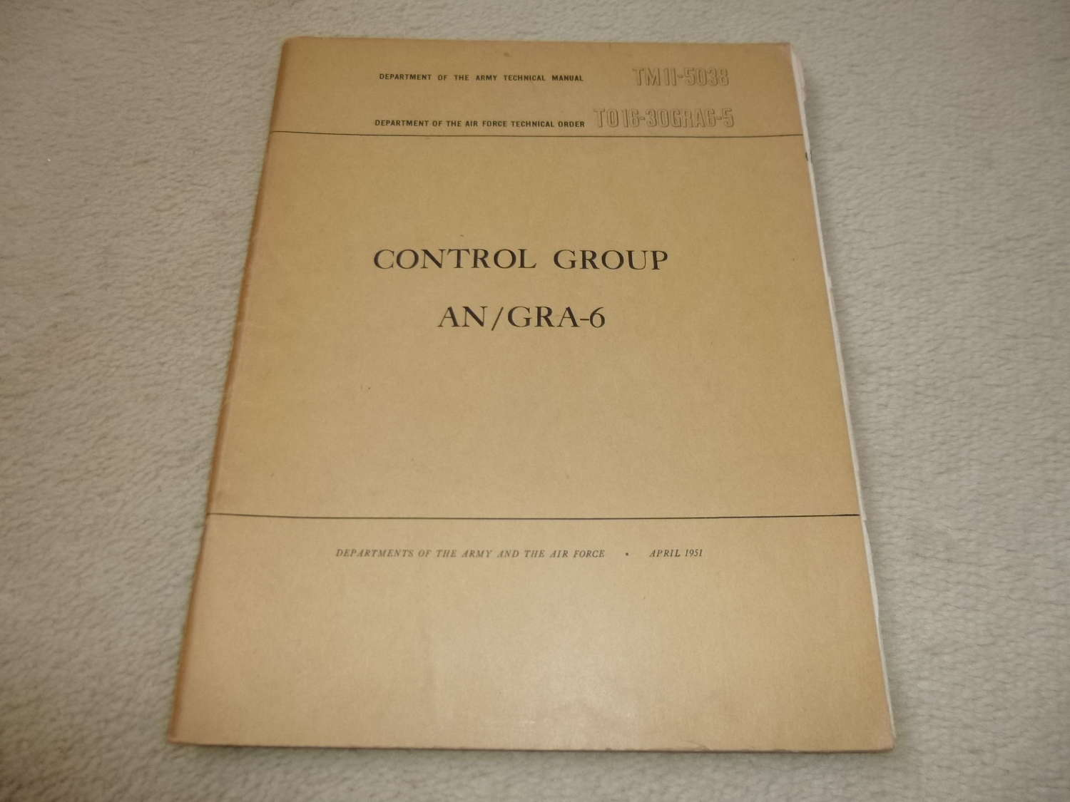 US Army TM11-5033 Control Group AN/GRA-6 Manual