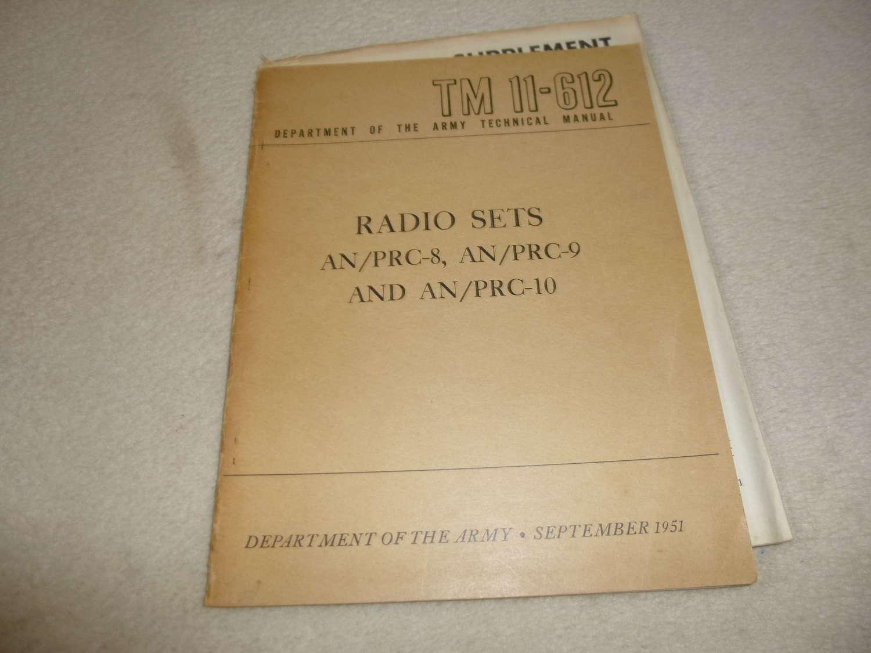 US Army TM11-612 AN/PRC-8-9-10 Manual