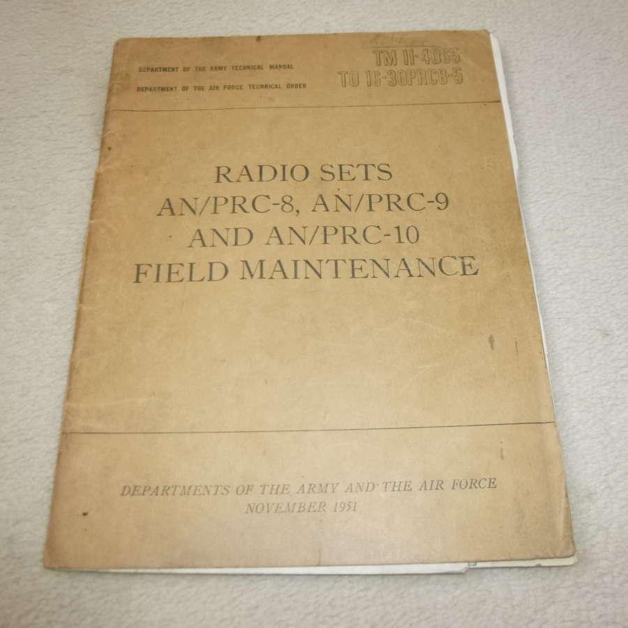 US Army TM11-4065 AN/PRC-8-9-10 Maintenance Manual