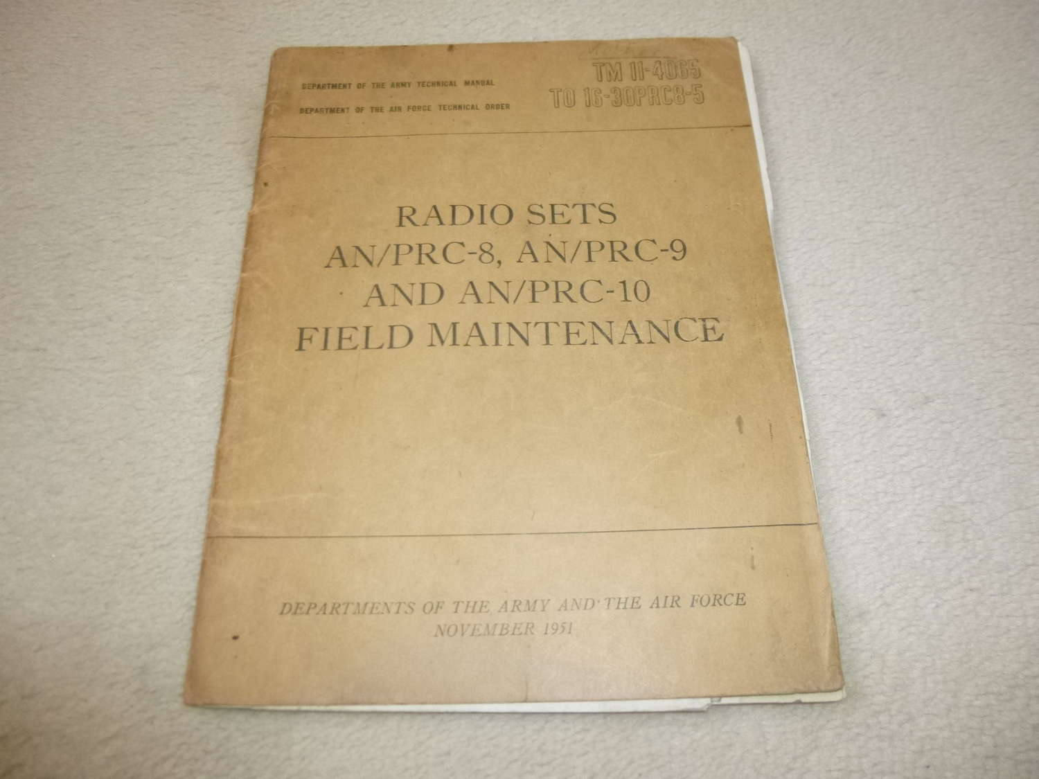 US Army TM11-4065 AN/PRC-8-9-10 Maintenance Manual