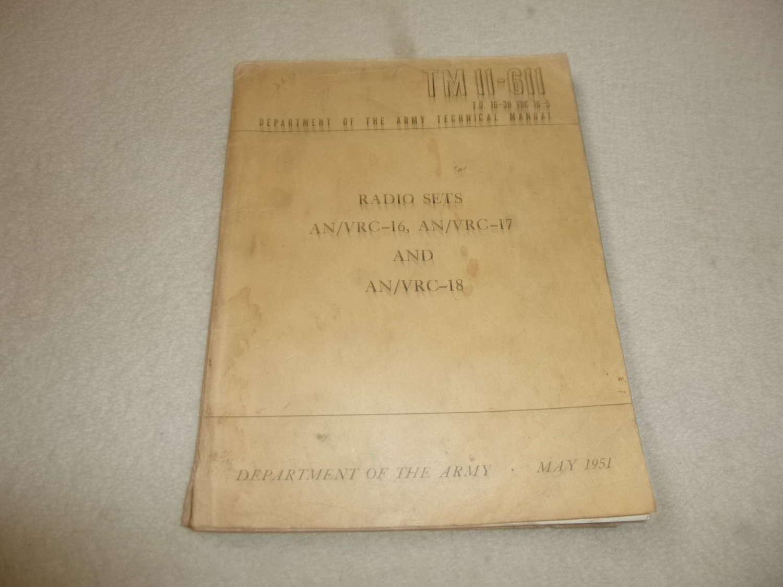 US Army TM11-611 AN/VRC-16-17-18 Manual