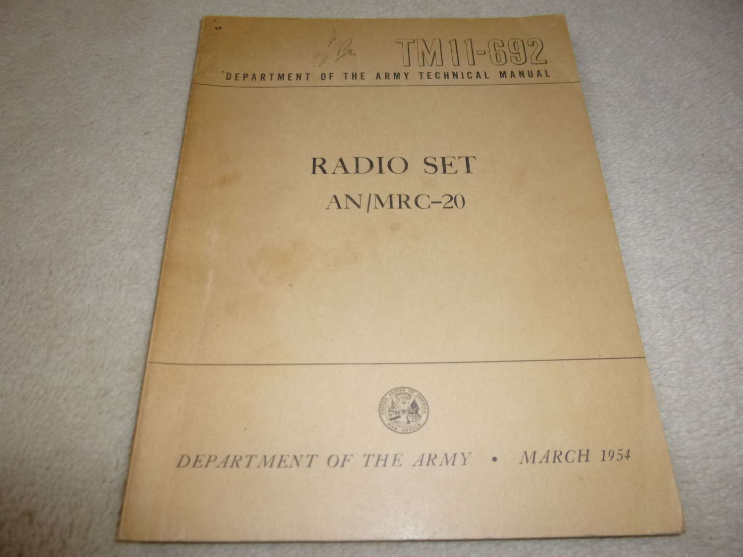 US Army TM11-692 AN/MRC-20 Manual