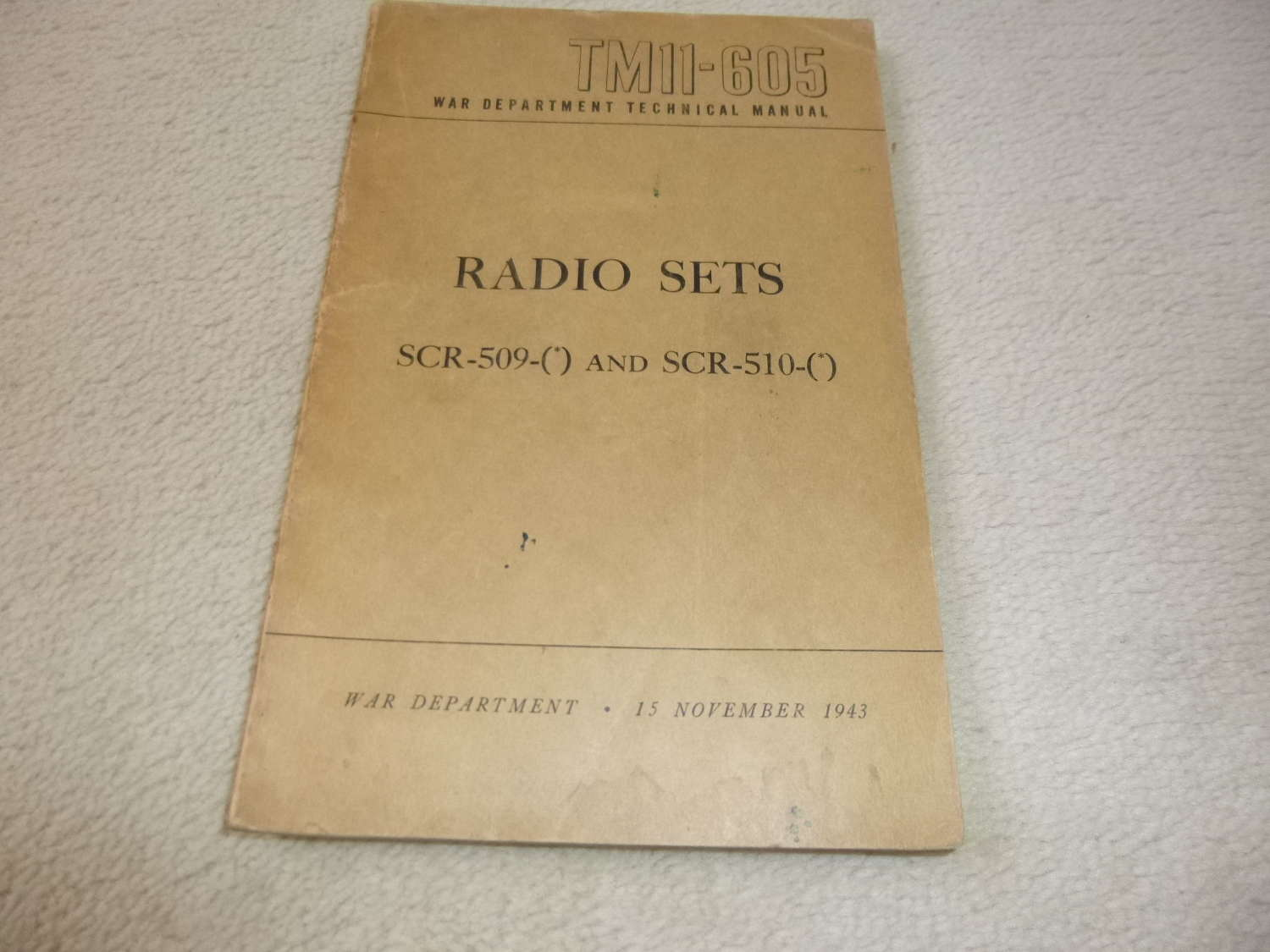 US Army TM11-605 Radio Sets SCR 509-510 Manual