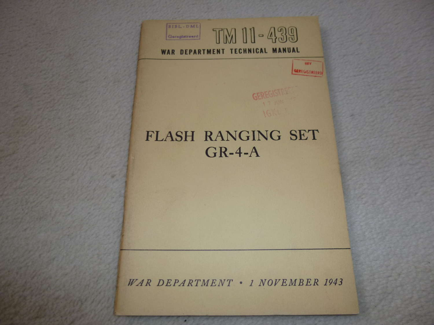 US Army TM11-439 Flash Ranging Set GR-4-A Manual