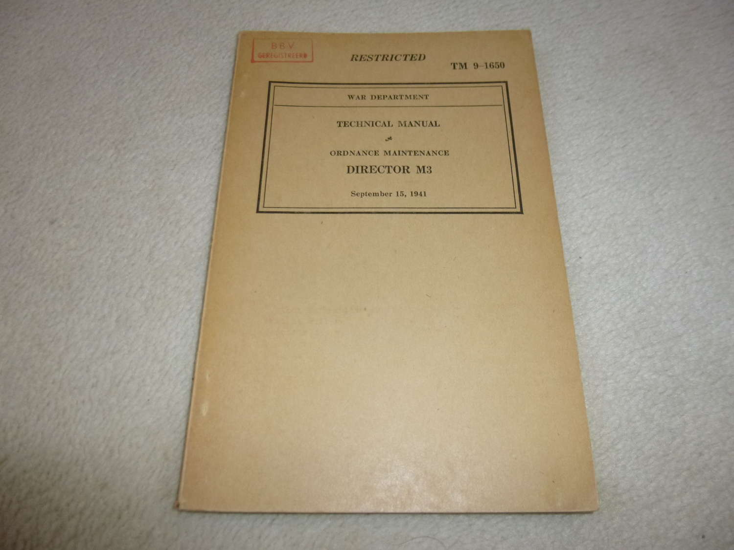 US Army TM9-1650 Maintenance Director M3 Manual