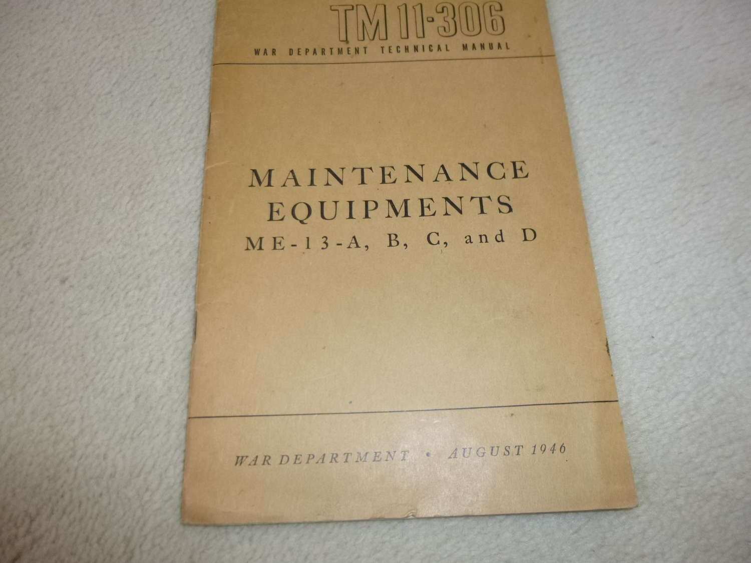 US Army TM11-306 Maintenance Equipment ME-13 Manual