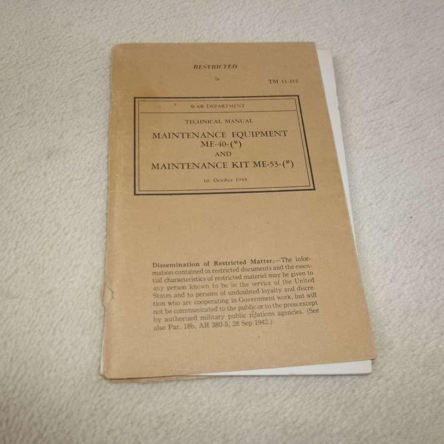 US Army TM11-315 Maintenance Equipment ME-40-53 Manual
