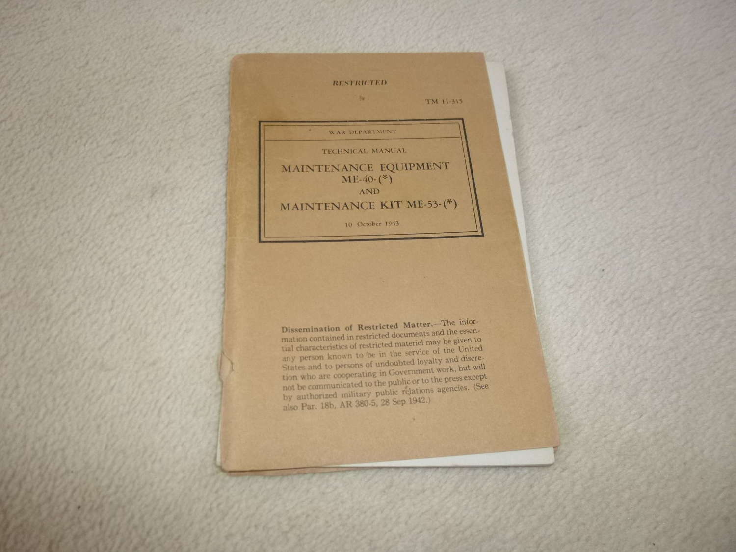 US Army TM11-315 Maintenance Equipment ME-40-53 Manual