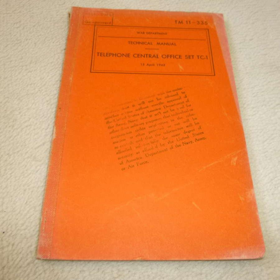 US Army TM11-335 Telephone Controller TC-1 Manual