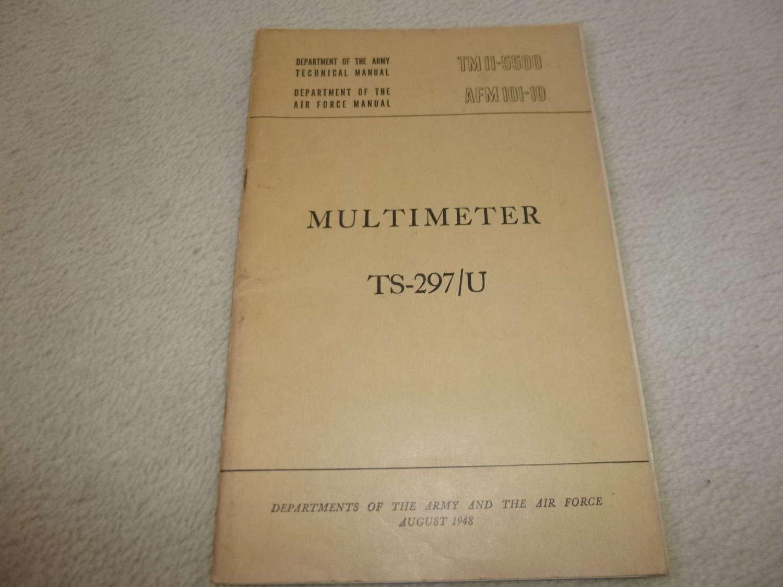 US Army TM11-5500 Multimeter TS-297/U Manual