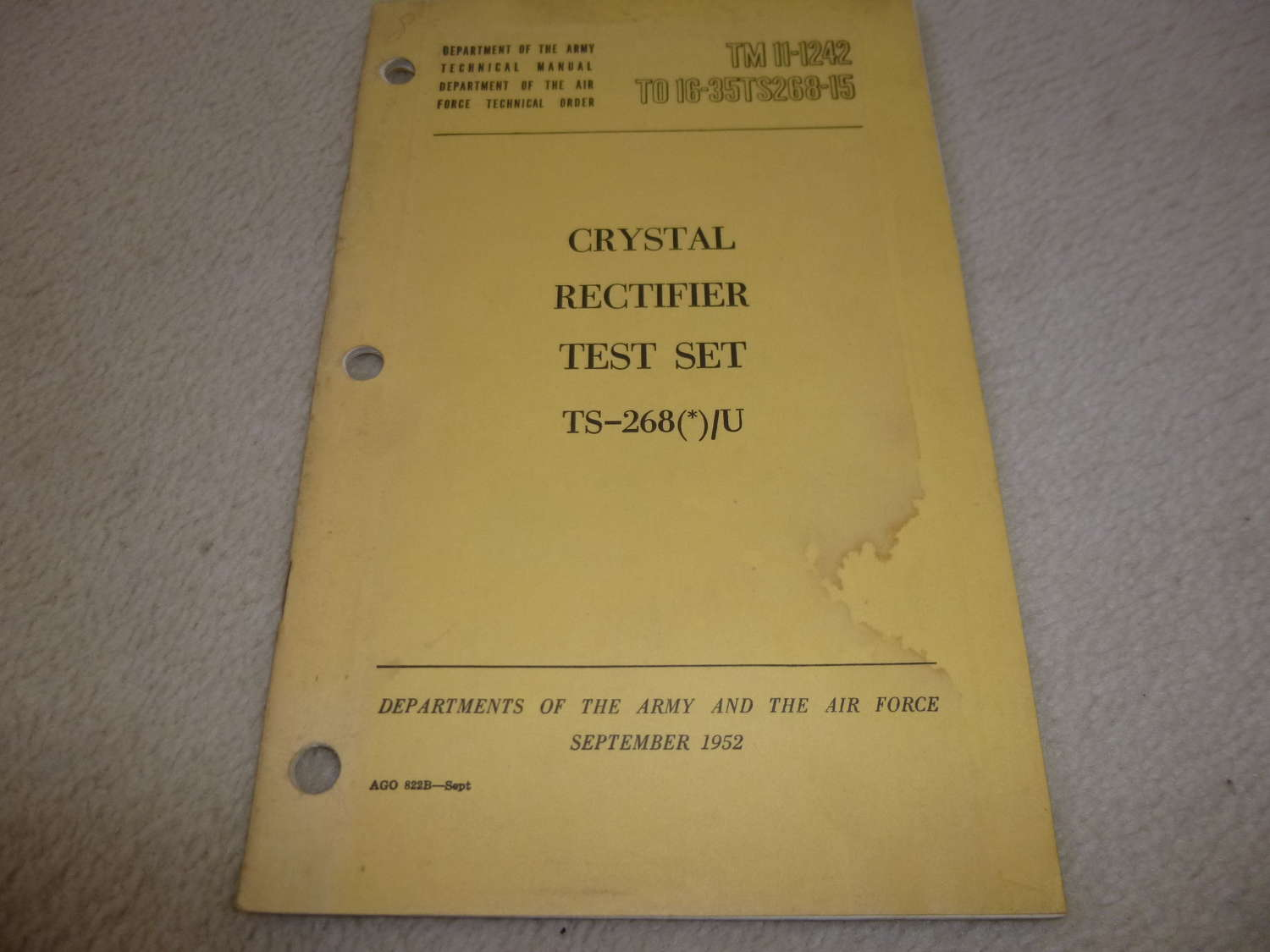 US Army TM11-1242 Crystal Rectifier Set TS-268/U Manual