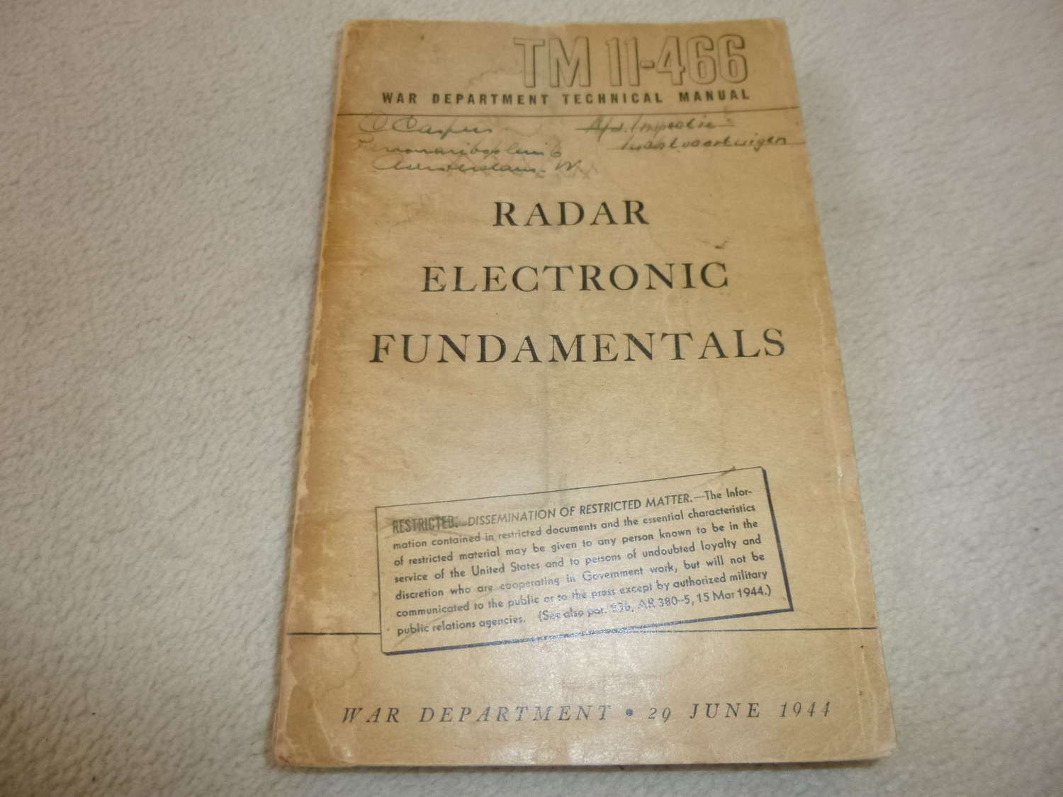US Army TM11-466 Radar Electronic Fundamentals Manual