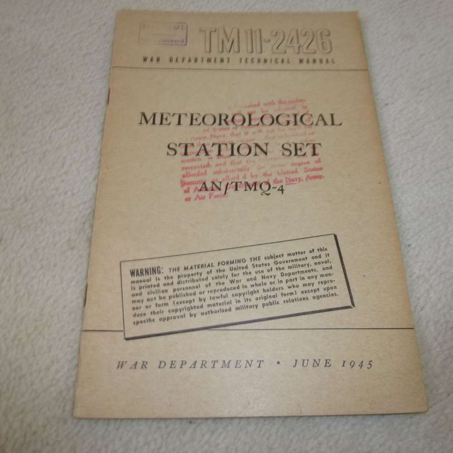 US Army TM11-2426 Meteorological Station Set AN/TMQ-4 Manual