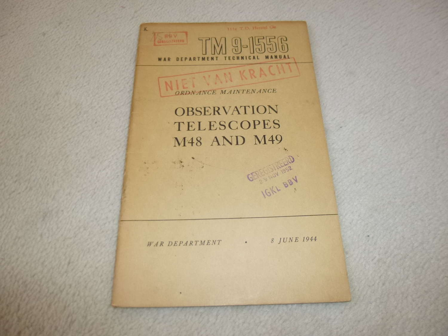 US Army TM9-1556 Observation Telescope M48-49 Manual