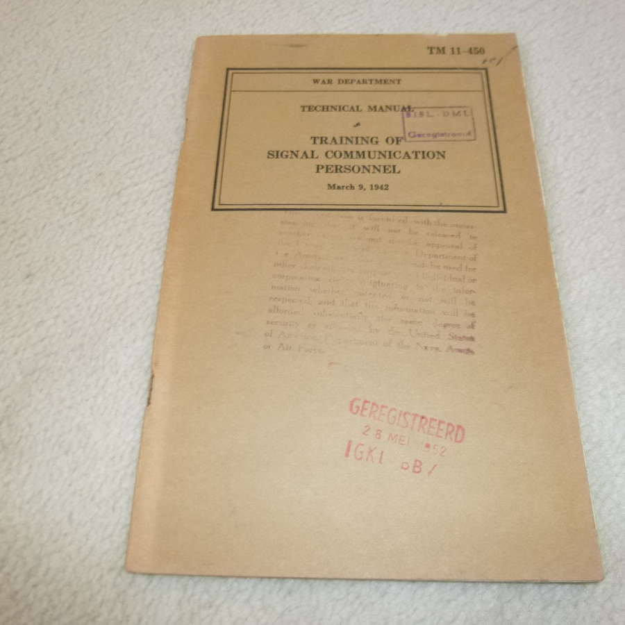 US Army TM11-450 Training of Signal Communications Personnel Manual