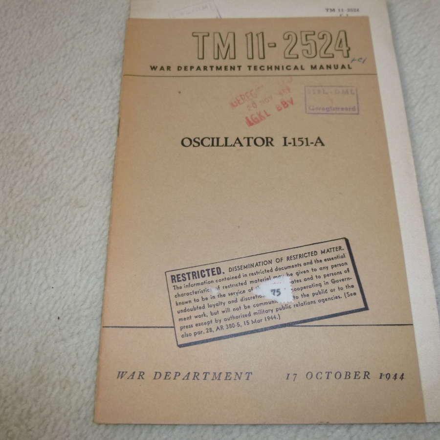 US Army TM11-2524 Oscillator I-151-A Manual