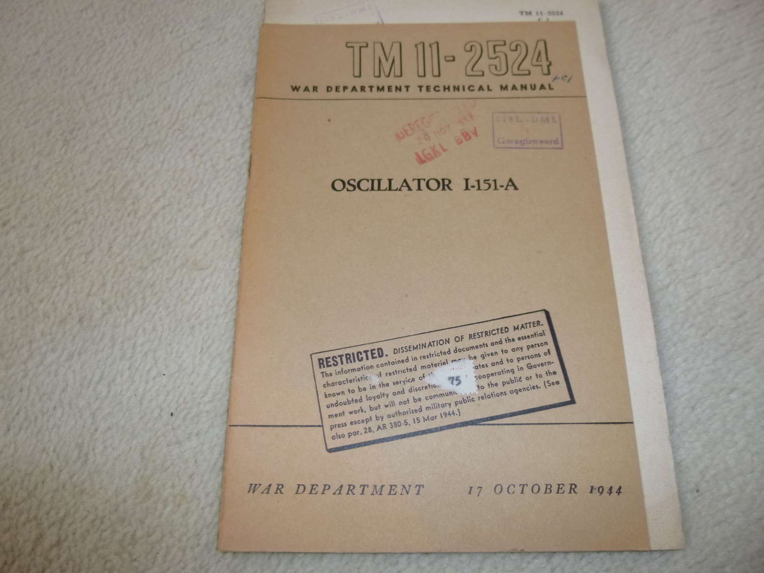 US Army TM11-2524 Oscillator I-151-A Manual