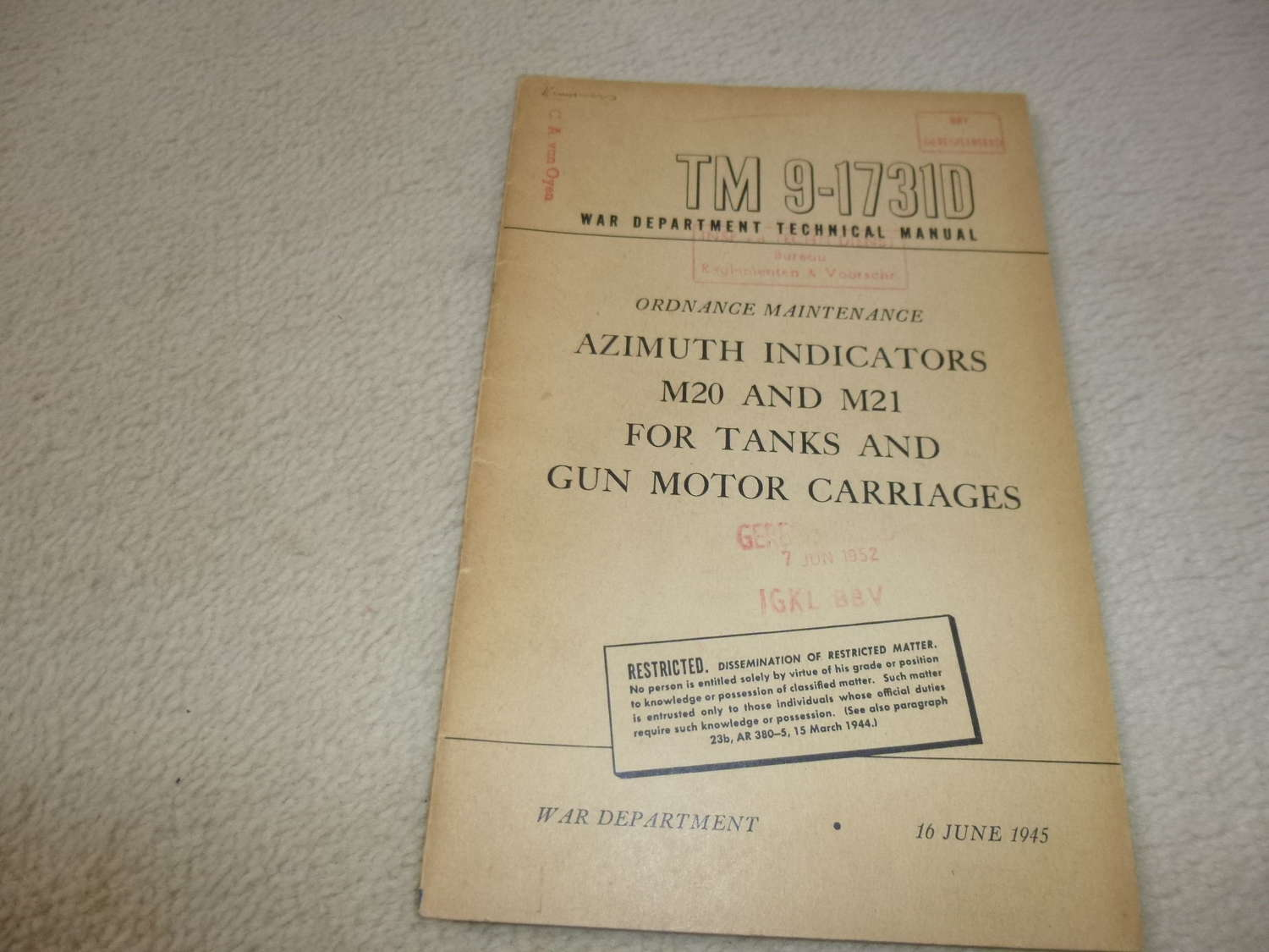 US Army TM9-1731D Azimuth Indicators M20-21 Manual