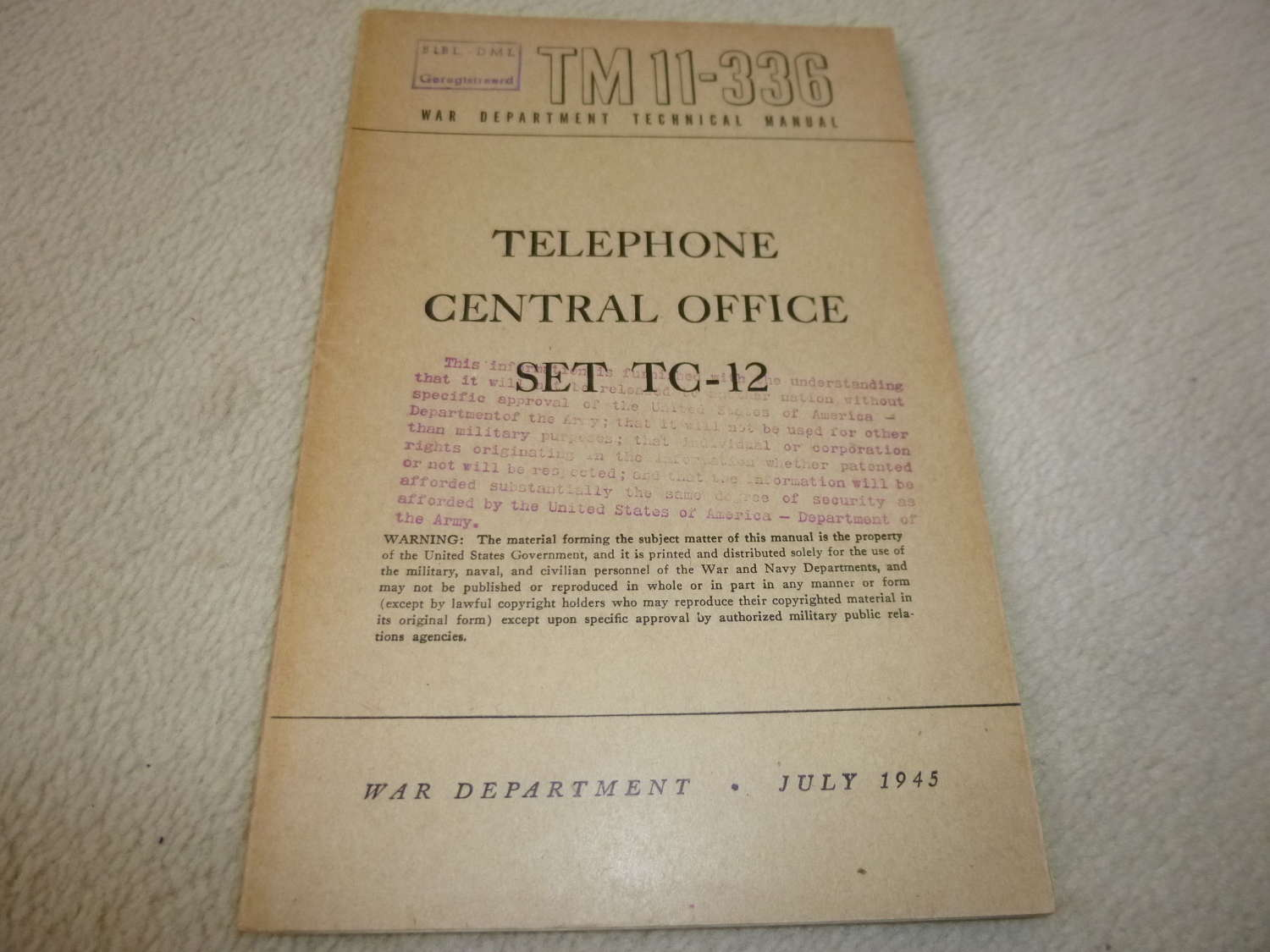 US Army TM11-336 Telephone Central TC-12 Manual