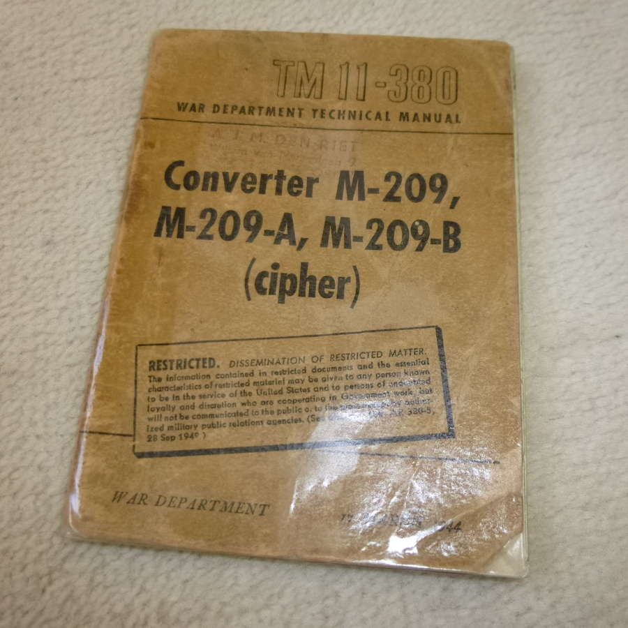 US Army TM11-380 Converter M-209 Cipher Manual