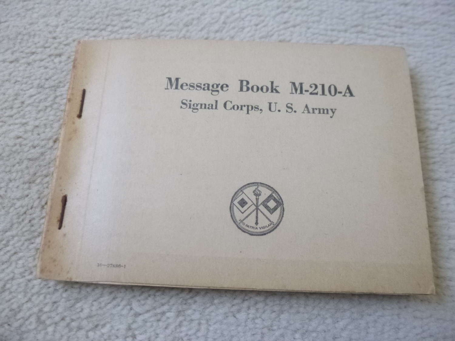 US Army M-210-A Message book