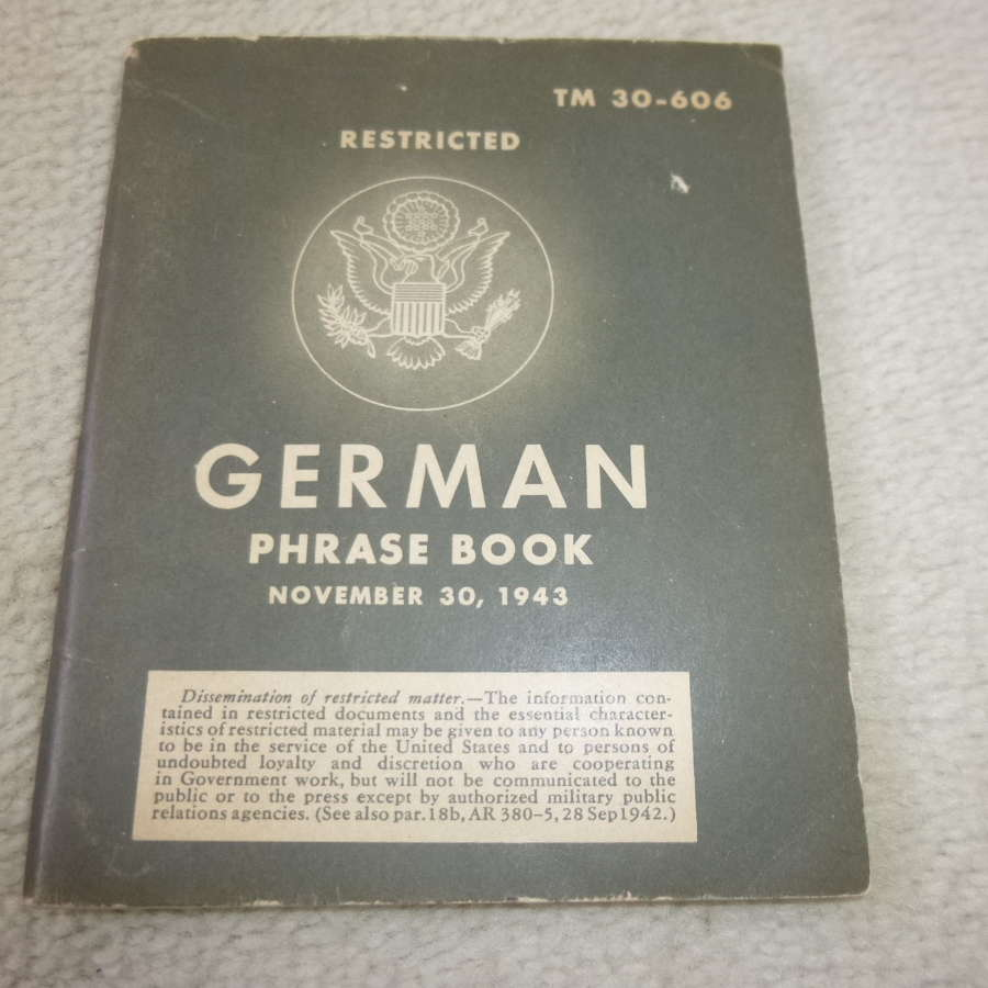 US Army TM30-606 German Phrase book Manual