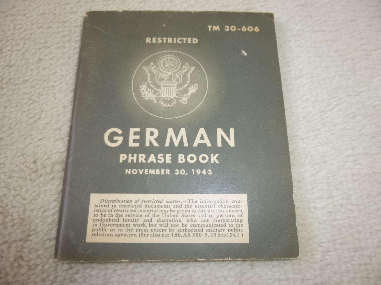 US Army TM30-606 German Phrase book Manual